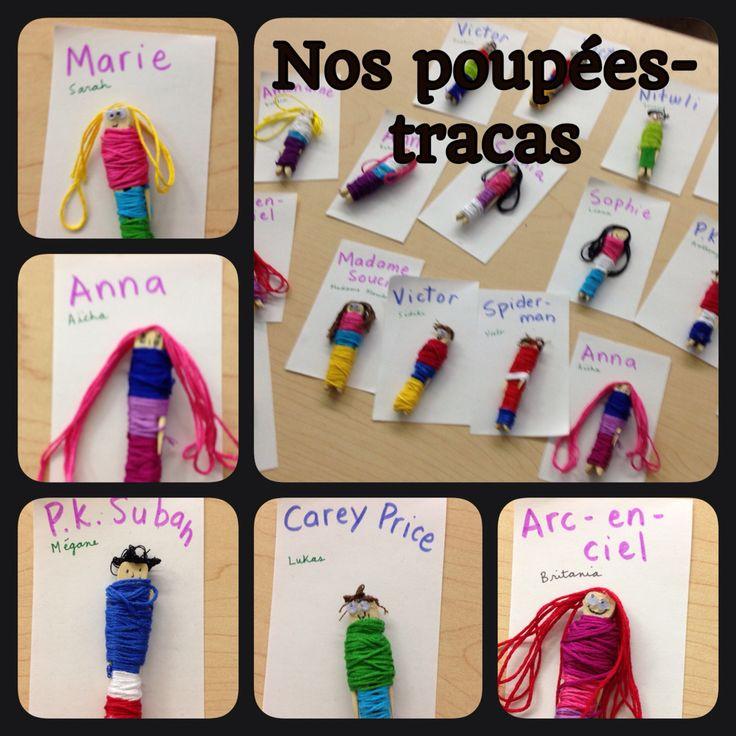 En classe nous avons fabriqué nos propres poupées tracas après la lecture du livre : Billy se bile !