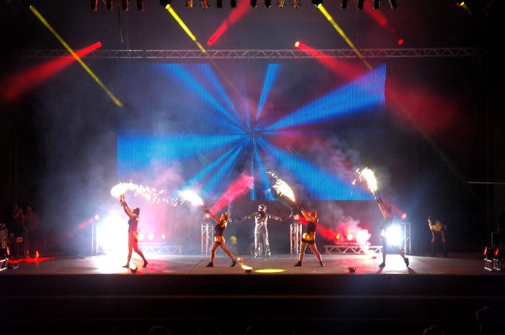 The Pump Dance girls get Highly Flammable during the #BowlNightOut, TSB Bank Festival of Lights #FOL2015. #MartinLighting #d&baudiotechnik #QSC #JBL #Yamaha #LED #lighting #PixelDrape