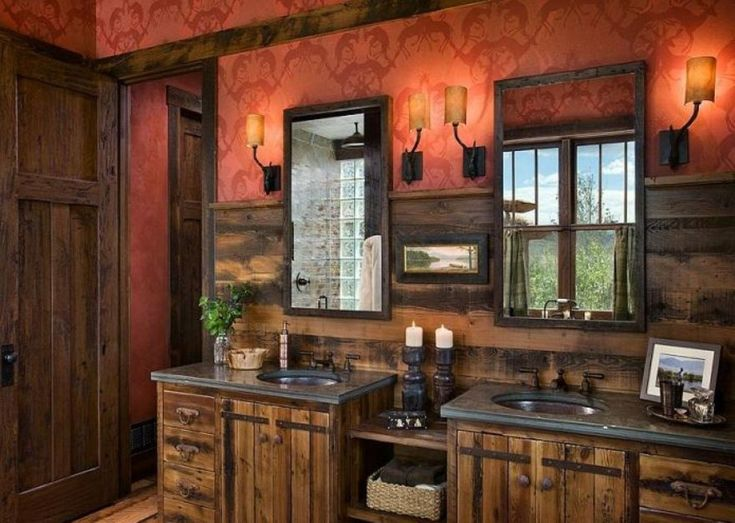Bathroom, Rustic Double Bathroom Vanities With Oil Rubbed Bronze Faucets And Framed Wall Mirrors Also Vintage Bronze Wall Sconces Surrounded By Red Wallpaper: Increase Aesthetic Values at Your Bathroom
