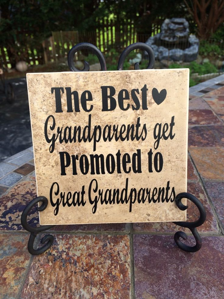 Natural tan ceramic tile with black vinyl lettering saying The Best Grandparents get promoted to Great Grandparents Clear matte coat seals and finishes the lovely product.  The perfect gift for special great grandparents!! Christmas, birthday or a Just Because gift, it will make a perfect keepsake and will make the Great grandparents smile.Perfect way to announce the new baby!  Tile size is approximately 6x6 and Include the decorative iron easel. Please allow 4-7 days for shipping. Thank you…