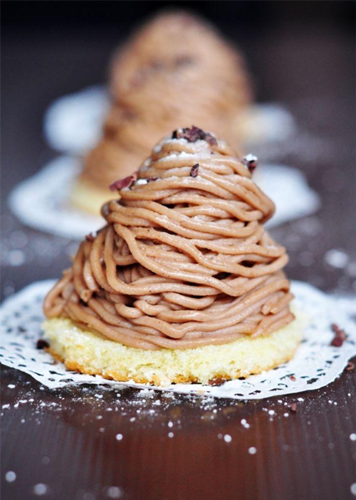 une variation du dessert classique mont blanc aux vermicelles de crème de marrons, recette marron de la pâtisserie classique