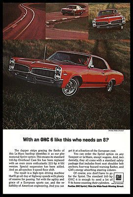 Pontiac Le Mans Sprint 1967 Ad GM Wide Track Winning Streak Car Auto RED Chrome