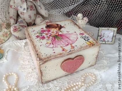 "Шкатулка - короб ""Девочка в розовом"" - шкатулка,короб,подарок,Декупаж  Cx de Gê"