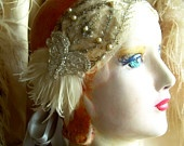 ivory bandeau headband 1920s style with antique beaded net lace and vintage feathers-last one