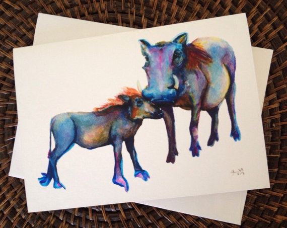 Warthog and Piglet Blank Greeting Card on Etsy, $4.00 CAD