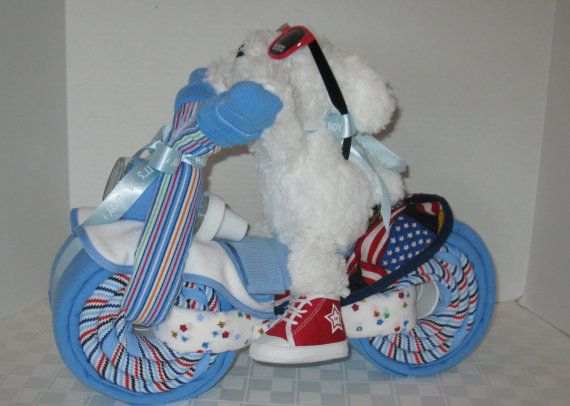 Motorcycle Bike Diaper Cake,  Baby Shower Gift, Centerpiece, Baby Cake,  Baby Boy Gift, New Baby