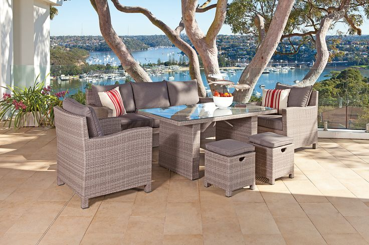 A hybrid of lounge and dining this Shelta dining setting suits homes with limited space to fit both. A practical solution the 'Norfolk' casual dining available from www.outdoorelegance.com.au