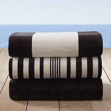 Black and White Cabana Stripe Beach Towels Wholesale