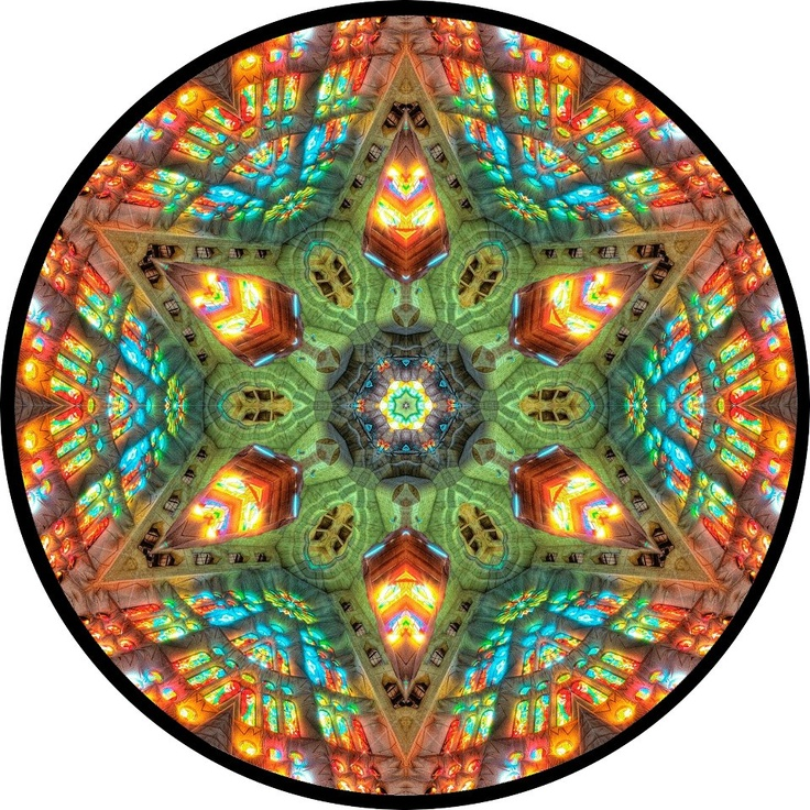 Mandala created 12-20-11 from a picture of the interior of La Sagrada Família, a massive Roman Catholic basilica Barcelona, Catalonia, Spain.