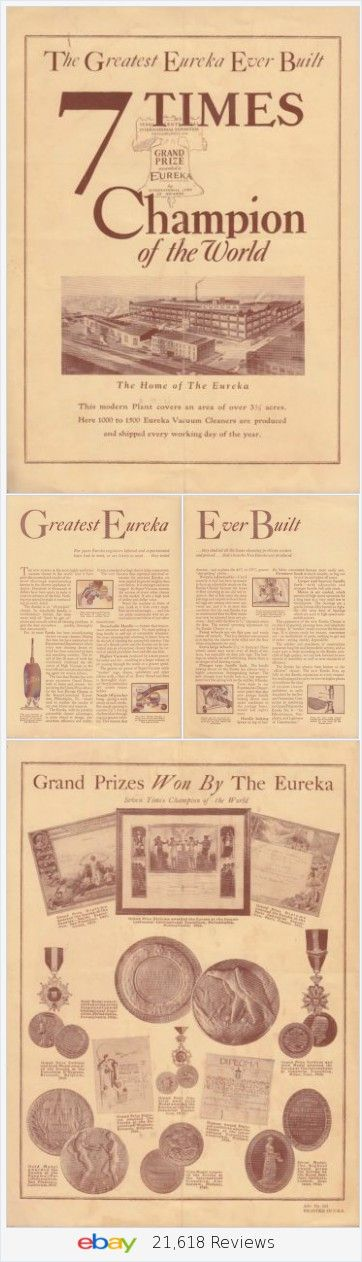 Eureka Vacuum Cleaner Seven Times Champion of the World 1926 Vintage 4-Page Brochure