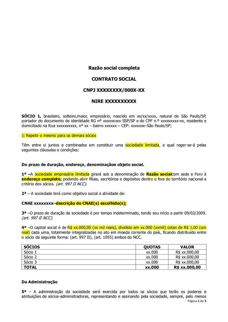 Modelo de contrato social by Luiz Piovesana via slideshare