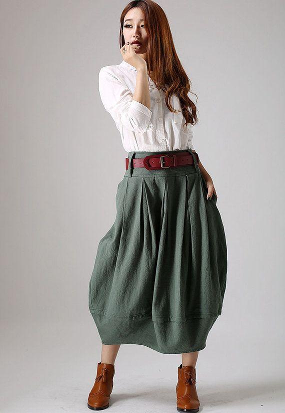 Green skirt woman linen skirt pleated skirt custom by xiaolizi, $69.99