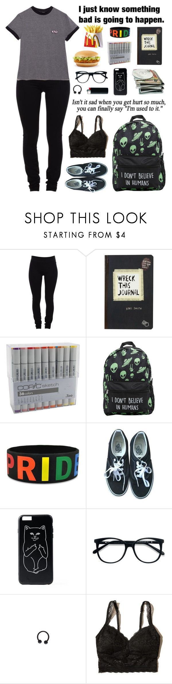 """""""Constant Headache"""" by melancholymaven ❤ liked on Polyvore featuring Helmut Lang, Lazy Oaf, Vans, EyeBuyDirect.com and Hollister Co."""