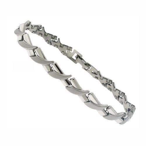 "Silver Tone Stainless Steel X-X-X Stampato Bracelet 7.25"" DiamondMist. $18.75"