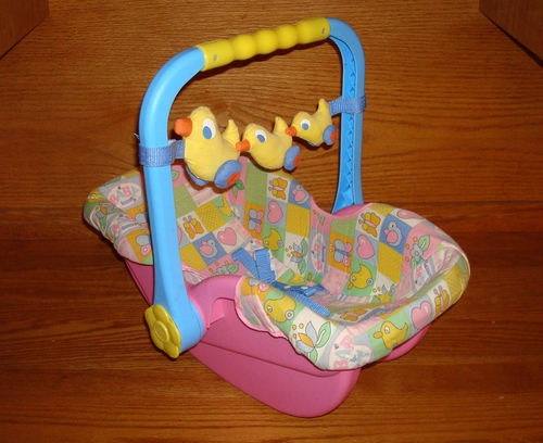 Baby Doll Car Seat Travel Carrier Pink Blue Duck Toy