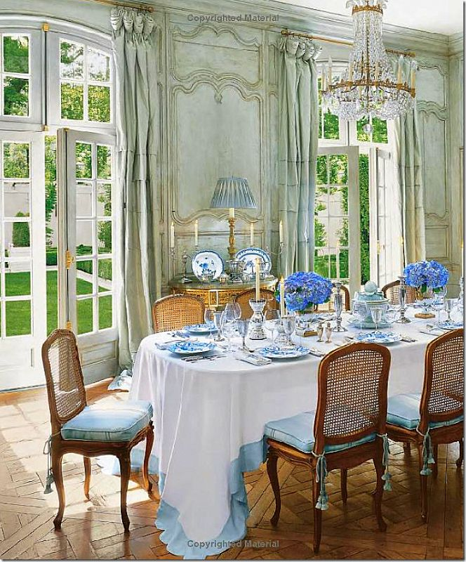 French Paneled Dining Room At The House Of Interior Designer Ginny Magher Source Houses Veranda Ruffle On Edge Tablecloth