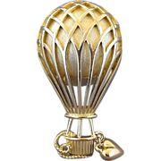 Vintage Trifari Hot Air Balloon Pin With Dangling Heart