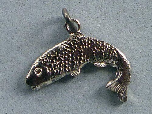 JUMPING SALMON Sterling Silver BMCo Charm TROUT FISH