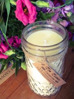 Quilted mason jar candles