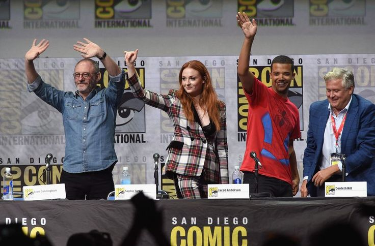 SAN DIEGO, CA - JULY 21: (L-R) Liam Cunninham, Sophie Turner, Jacob Anderson and Conleth Hill speak onstage at Comic-Con International 2017 'Game Of Thrones' panel And Q A Session at San Diego Convention Center on July 21, 2017 in San Diego, California. (Photo by Kevin Winter/Getty Images)