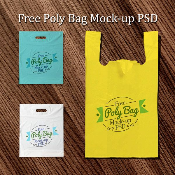 Free Plastic Poly Bag Mock-Up PSD