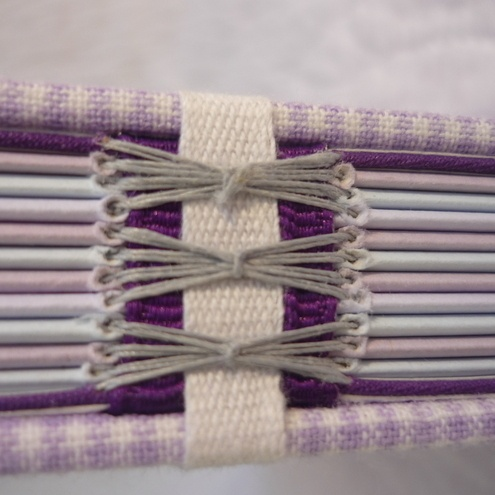 """""""Lilac Check - Beer Mat"""" Recycled hand bound notebook or journal"""