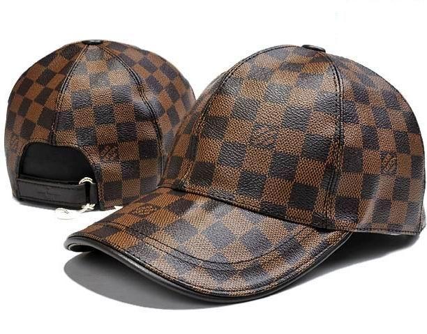 Louis Vuitton Leather Damier Ebene Baseball Cap
