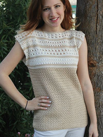 Whole Latte Love Crochet Top pattern download from AnniesCraftStore.com. Order here: https://www.anniescatalog.com/detail.html?prod_id=124389&cat_id=24