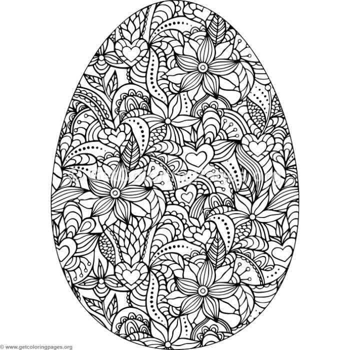 Download This Free Flowers And Hearts Easter Egg Coloring Pages
