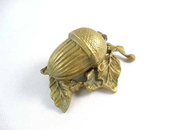 Vintage Acorn  Brass Ashtray  Brass Trinket Box  Acorn