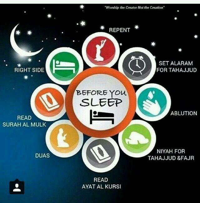 Sunnah before sleeping