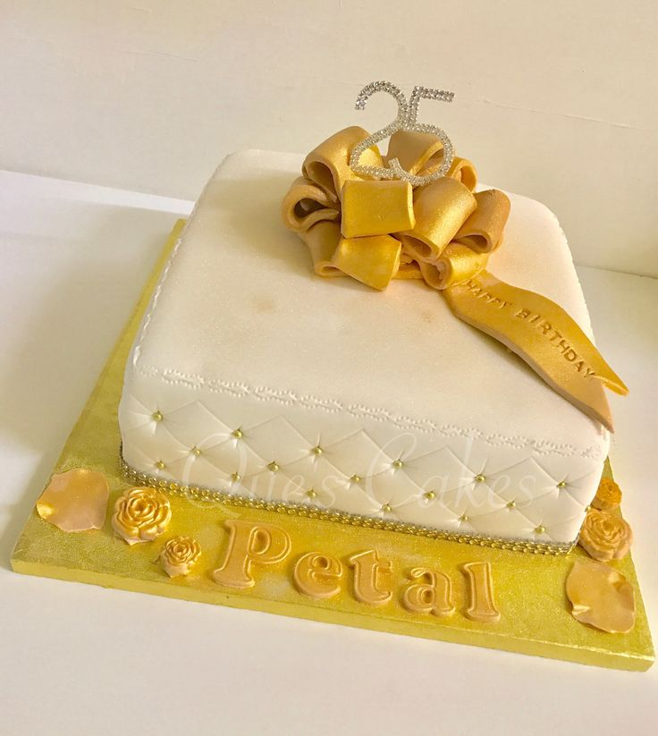 Quilted birthday cake with bow
