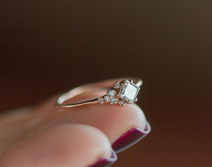 14k Rose Gold Princess Cut Diamond Mini Cluster Engagement Ring, close up on-hand view