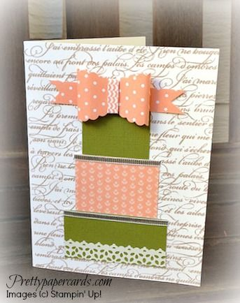 En Francais background stamp and card stock scraps to build the present and the Scallop Oval punch forms the bow -- could be a birthday or wedding gift!