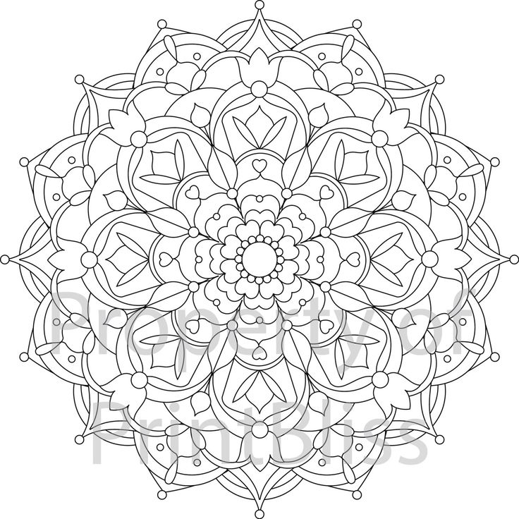 flower mandala printable coloring page by printbliss on etsy - Mandalas Coloring Pages Printable