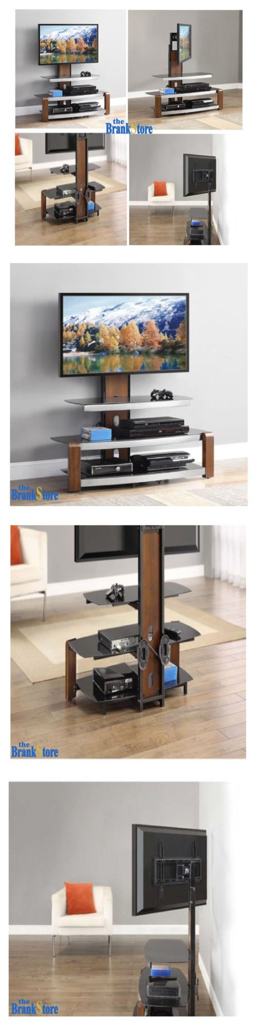 Entertainment Units TV Stands: Tv Stand With Mount Swinging Holder Home Entertainment Center Wood Glass Storage BUY IT NOW ONLY: $98.36