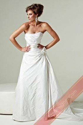 A-Line Strapless Long Taffeta Wedding Dresses for Brides