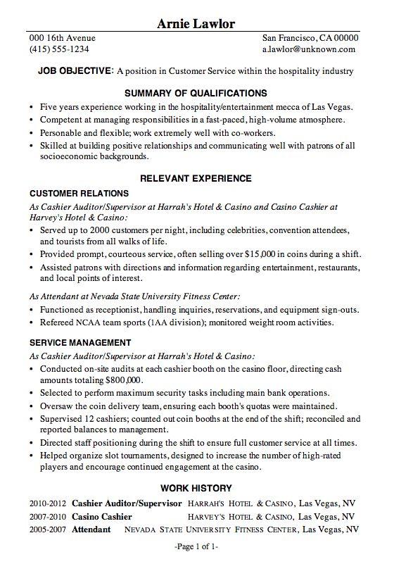 Resume Sample Customer Service Hospitality Functional