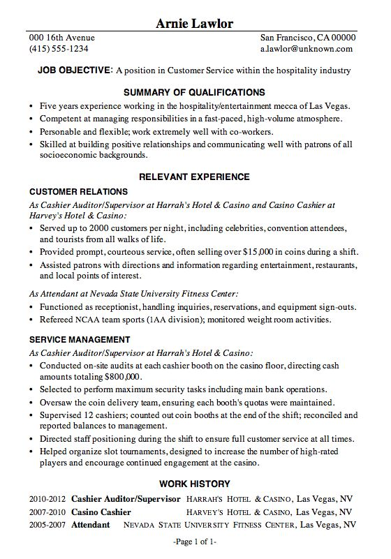 resume sample customer service hospitality best resume formatbasic
