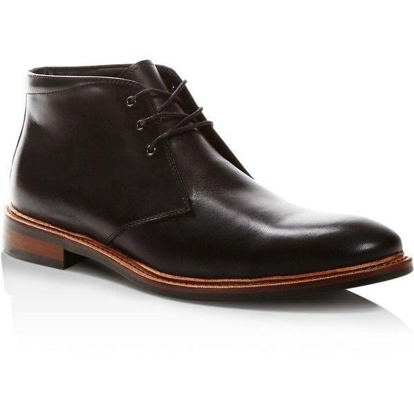 Gordon Rush Nathanson Chukka Boots ($250) ❤ liked on Polyvore featuring men's fashion, men's shoes, men's boots, black, mens chukka shoes, mens black leather boots, mens leather boots, mens black boots and mens black leather shoes