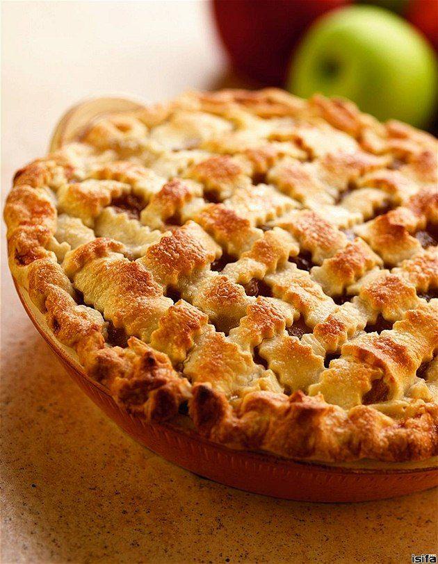 Koláče z jablek z celé Evropy.Jablkový mřížkový koláč.
