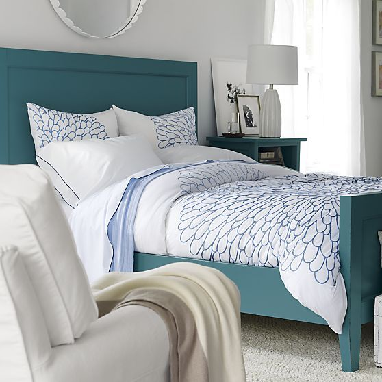 harbor blue queen bed crate and barrel - Blue Bed Frame