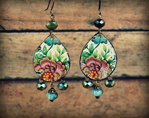 Reycled Tin Earrings, Gypsy Beaded Earrings, Upcycled Jewelry, Hippie Earrings, Handmade Recycled Tin Earrings