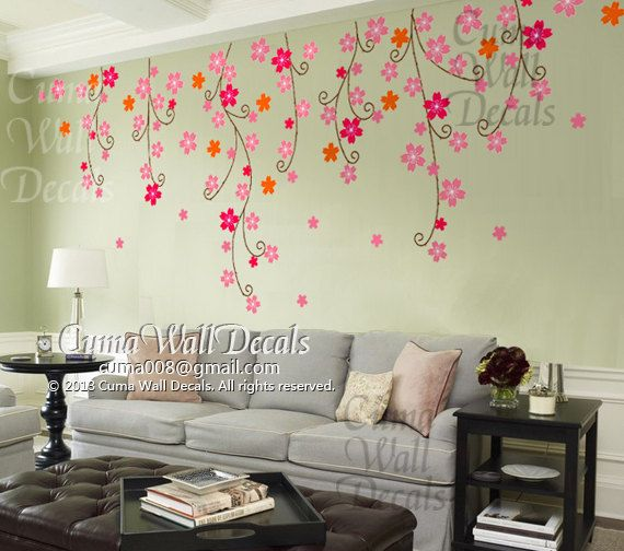 Cherry Blossom Wall Decals Nursery Pink Flower Vinyl Wall Decal Tree