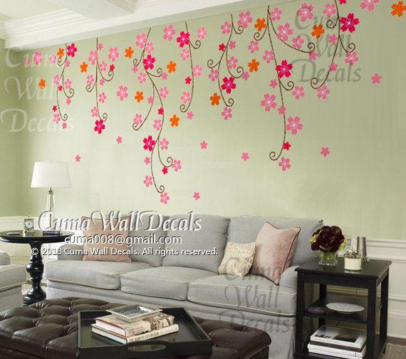 Cherry blossom wall decals nursery pink flower vinyl wall decal  tree nature wall sticker children decals nursery wall mural-  Z202 by cuma on Etsy, $79.00