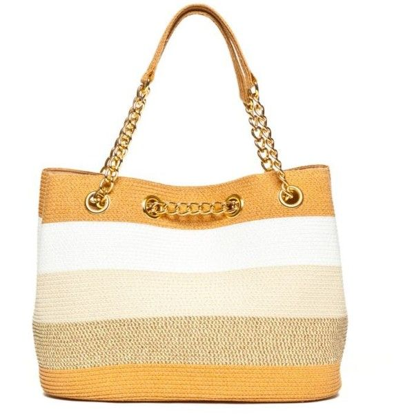 New Directions Natural Multi Straw Stripe Chain Tote ($55) ❤ liked on Polyvore featuring bags, handbags, tote bags, natural multi, straw tote handbags, white tote, chain strap purse, straw purses and white purse