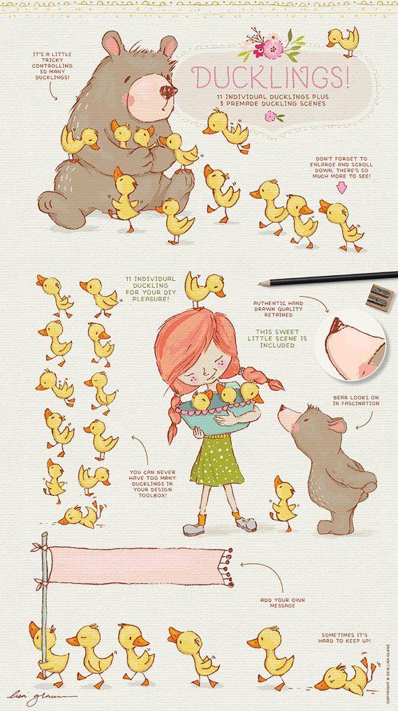 Spring Animal Clipart Set Bear Clip Art Cute Mouse Girl Etsy Spring Illustration Spring Animals Nursery Wall Art Girl