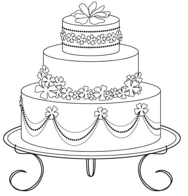 Wedding Cake Coloring Sheet