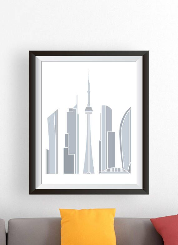 """Toronto Canada Skyline Art Poster Print. Use Promo Code """"Pin10"""" to receive 10% off! This modern and stylish rendering of the Toronto Skyline will look great with any choice of decor. Perfect for a unique gift! Interested in more designs? Feel free to visit us at Skyink.etsy.com for more Skyline and City art."""