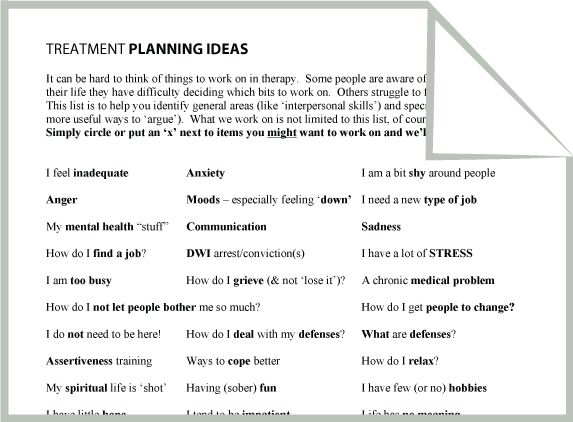 mental health treatment planning IDEAS worksheet - Google Search